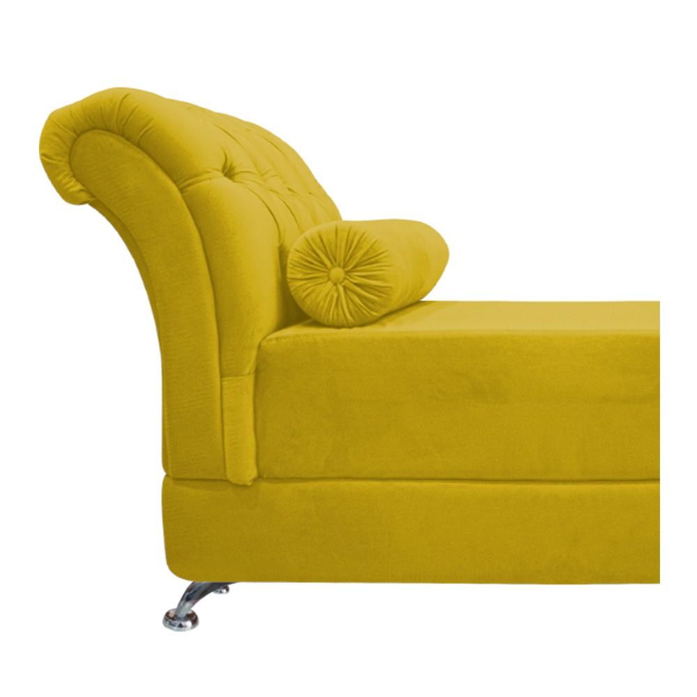 Recamier Taty Casal 140cm Suede Amarelo - ADJ Decor