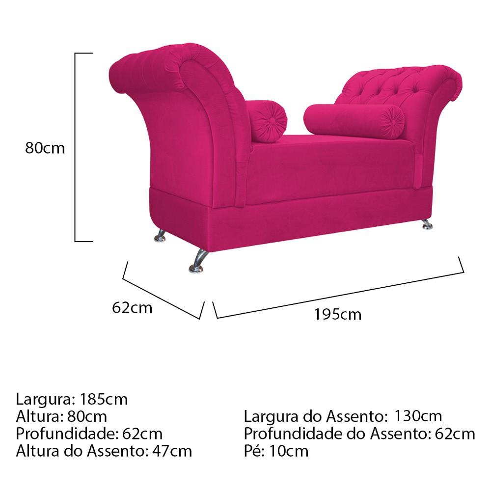 Recamier Taty King Size 195cm Suede Pink - ADJ Decor