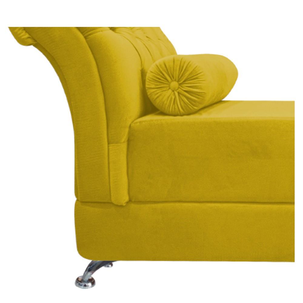 Recamier Taty Queen Size 160cm Suede Amarelo - ADJ Decor