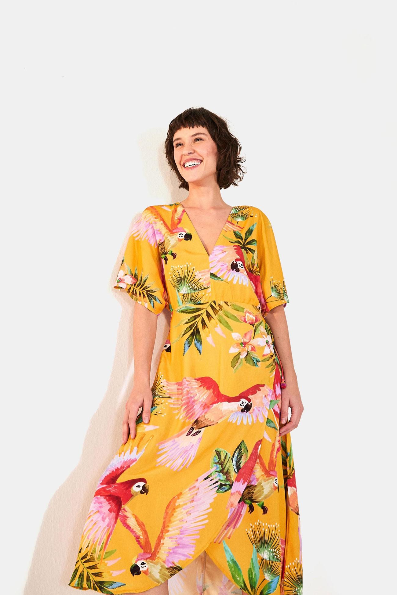 Vestido Farm Midi Voo Colorido