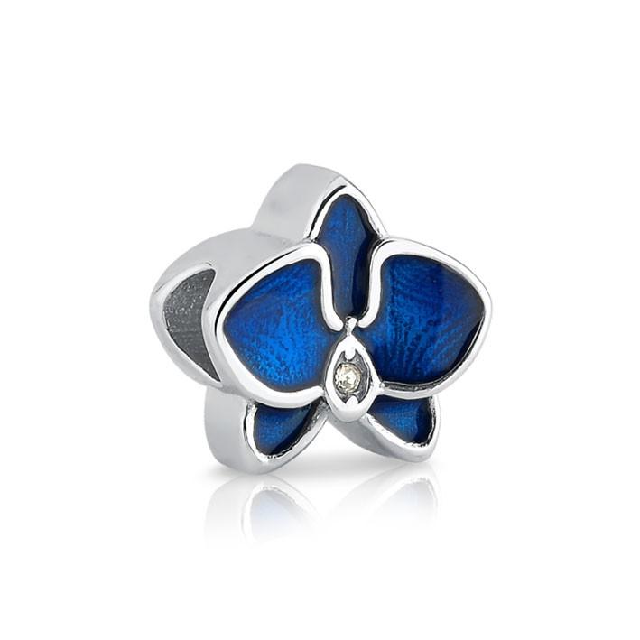 Berloque de Aço Orquídea Azul