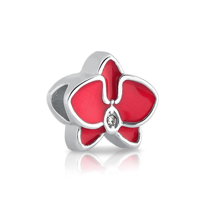 Berloque de Aço Orquídea Rosa