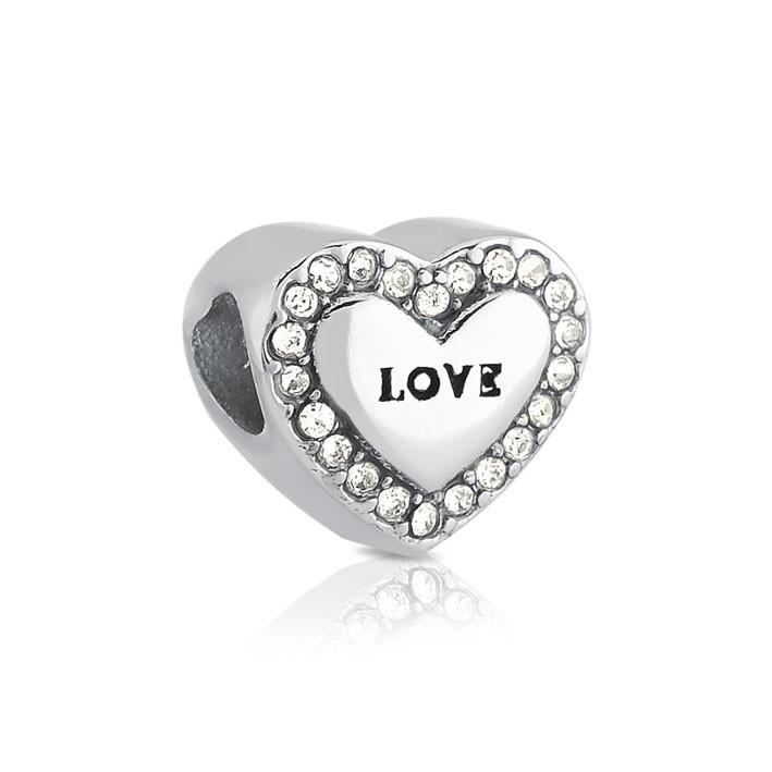 Berloque Coração Love de Aço