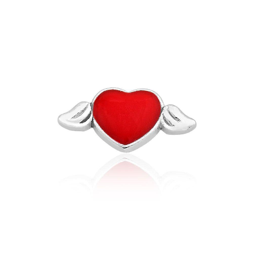 Mini Charm Coração com Asas