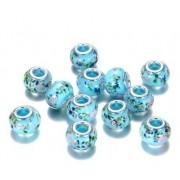 Berloque Murano Azul Claro com Flores
