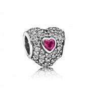 Berloque Coração com Zircônias E Pedra Rubi