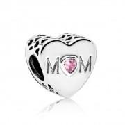Berloque Coração Mãe com Zircônia