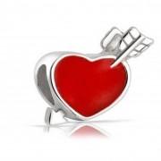 Berloque Coração Vermelho com Flecha