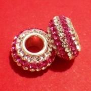 Berloque Cristal Branco E Rosa