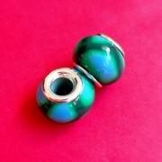 Berloque Murano Verde com Manchas Azuis