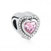 Berloque Coração Centro Rosa
