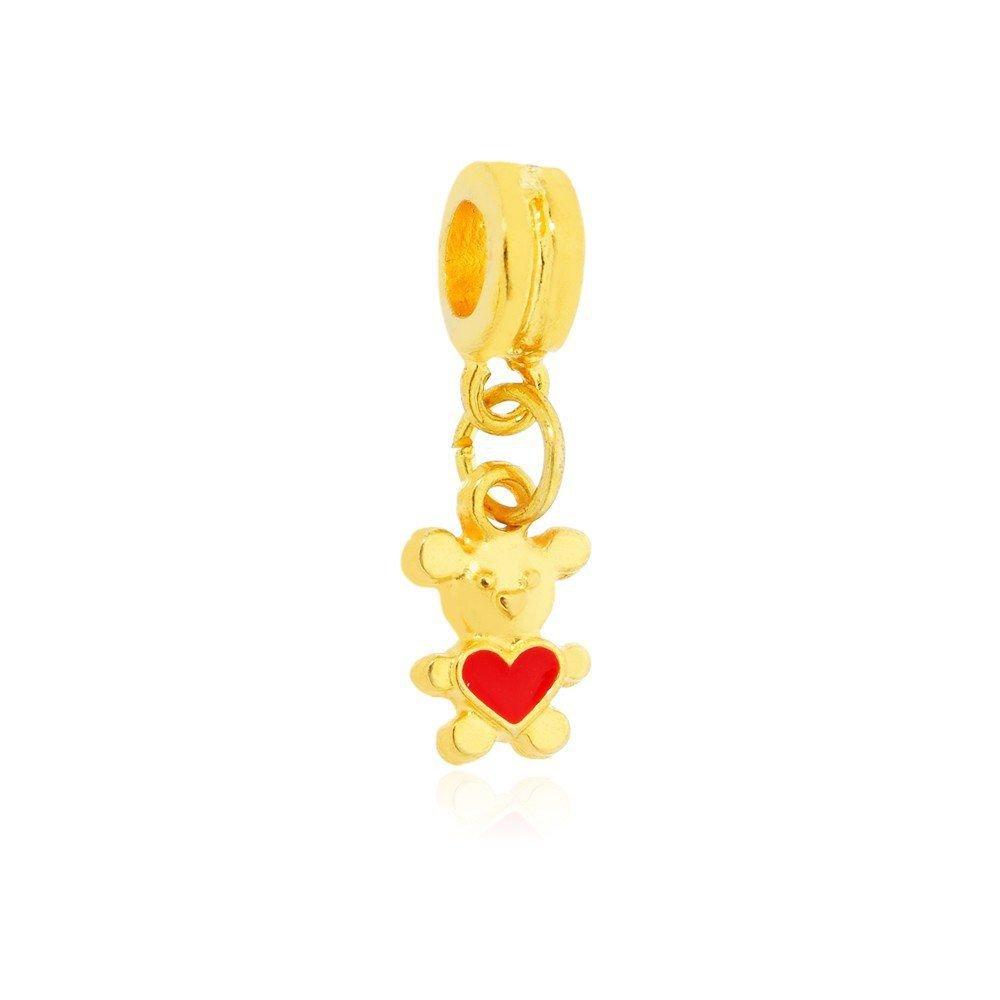 Berloque Ursinho Dourado Coração