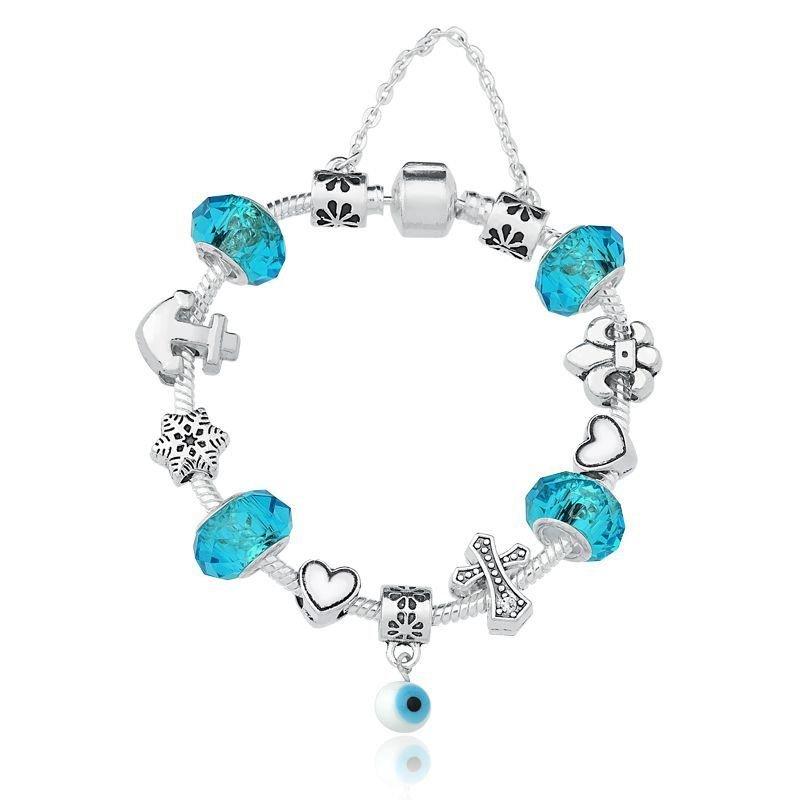 Berloque Murano Facetado Azul Claro