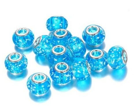 Berloque Murano Azul Flocos