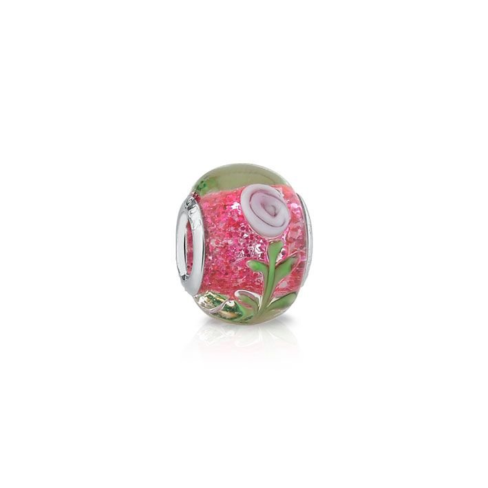 Berloque Murano Brilhos Pink