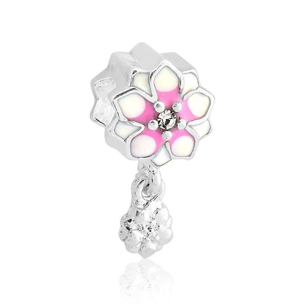 Berloque Flor Branca E Rosa