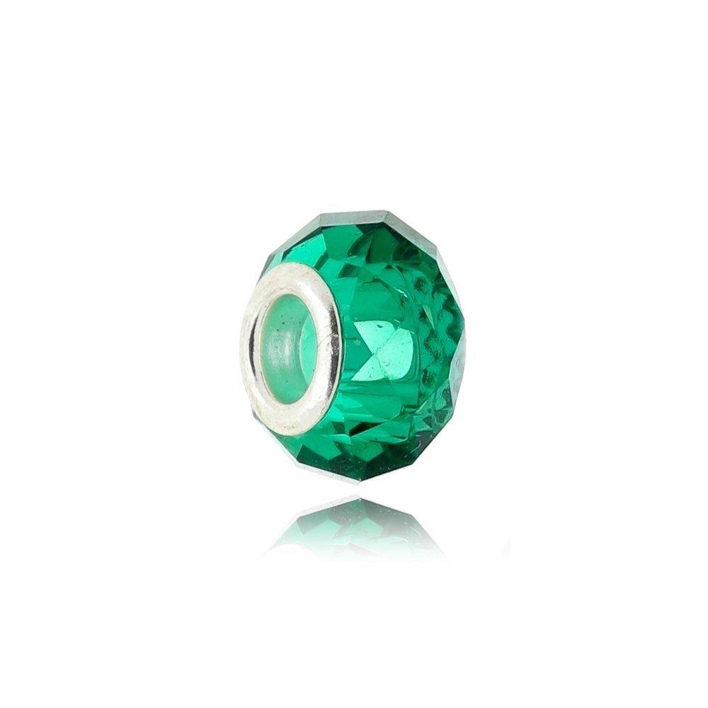 Berloque Murano Verde Cristal Facetado