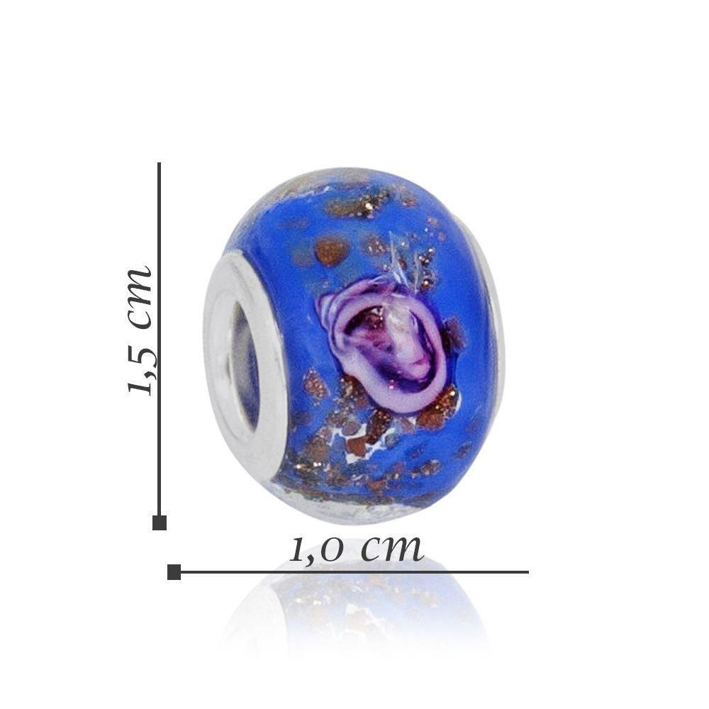 Berloque Murano Azul com Rosa
