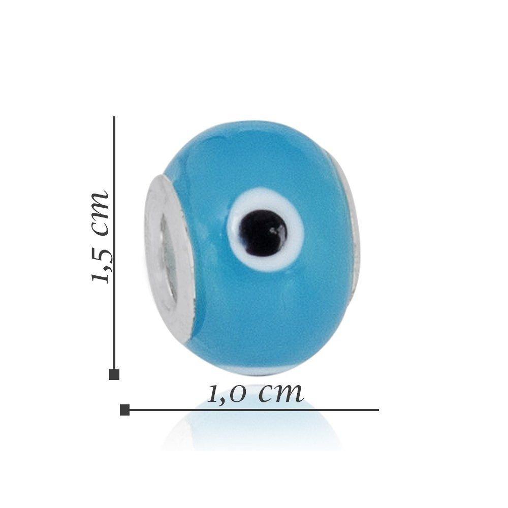 Berloque Murano Olho Grego Azul Claro