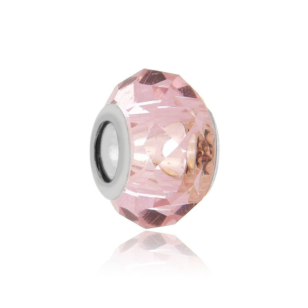 Berloque Murano Rosa Transparente II