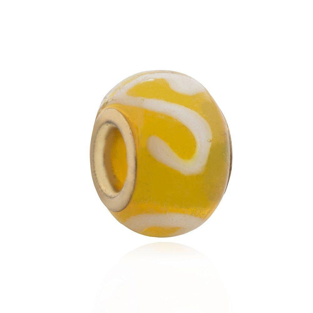 Berloque Murano Estampado Amarelo
