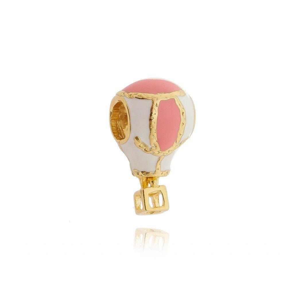 Berloque Balão Rosa e Dourado