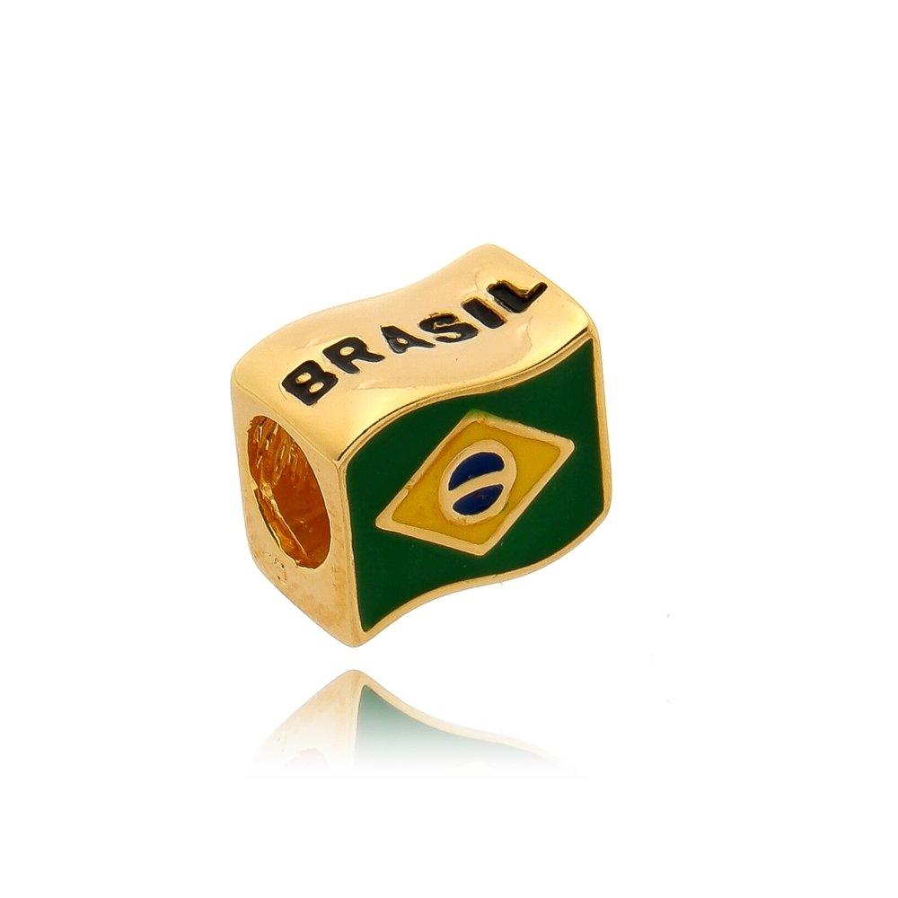 Berloque Bandeira Brasil Dourada