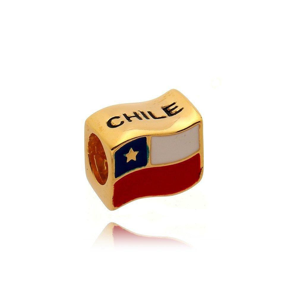 Berloque Bandeira Chile Dourada