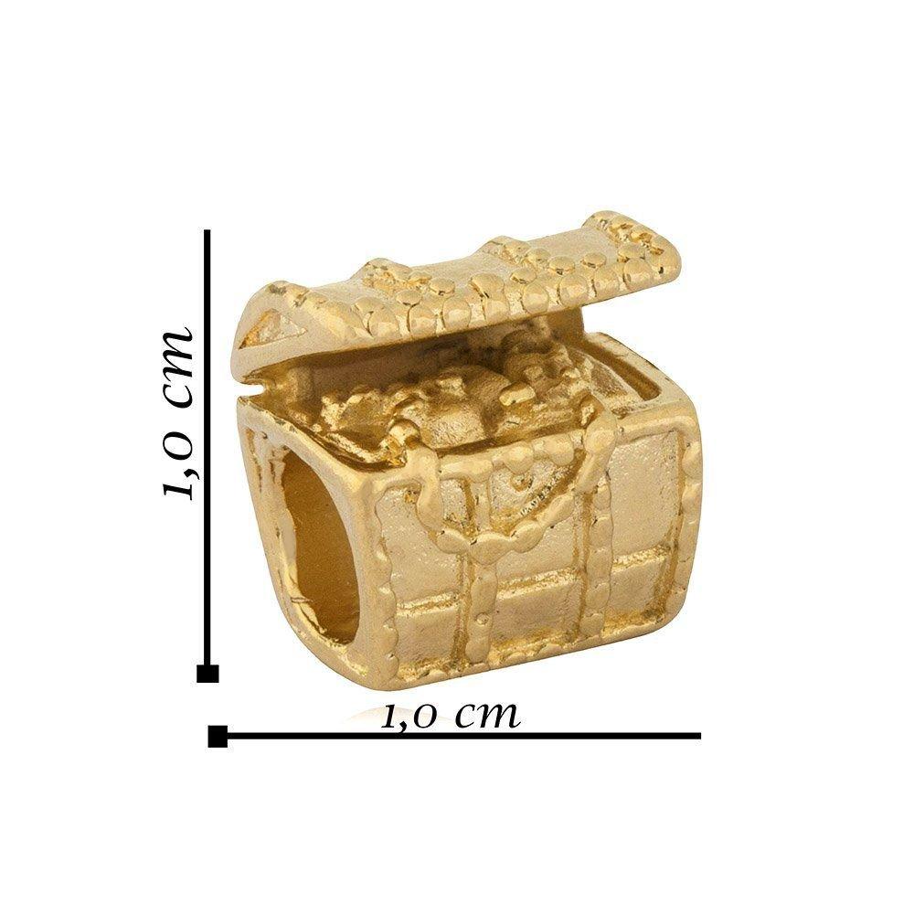 Berloque Baú Do Tesouro Dourado