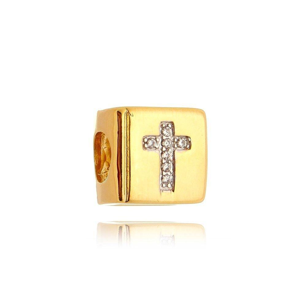 Berloque Bíblia Zircônias Dourada