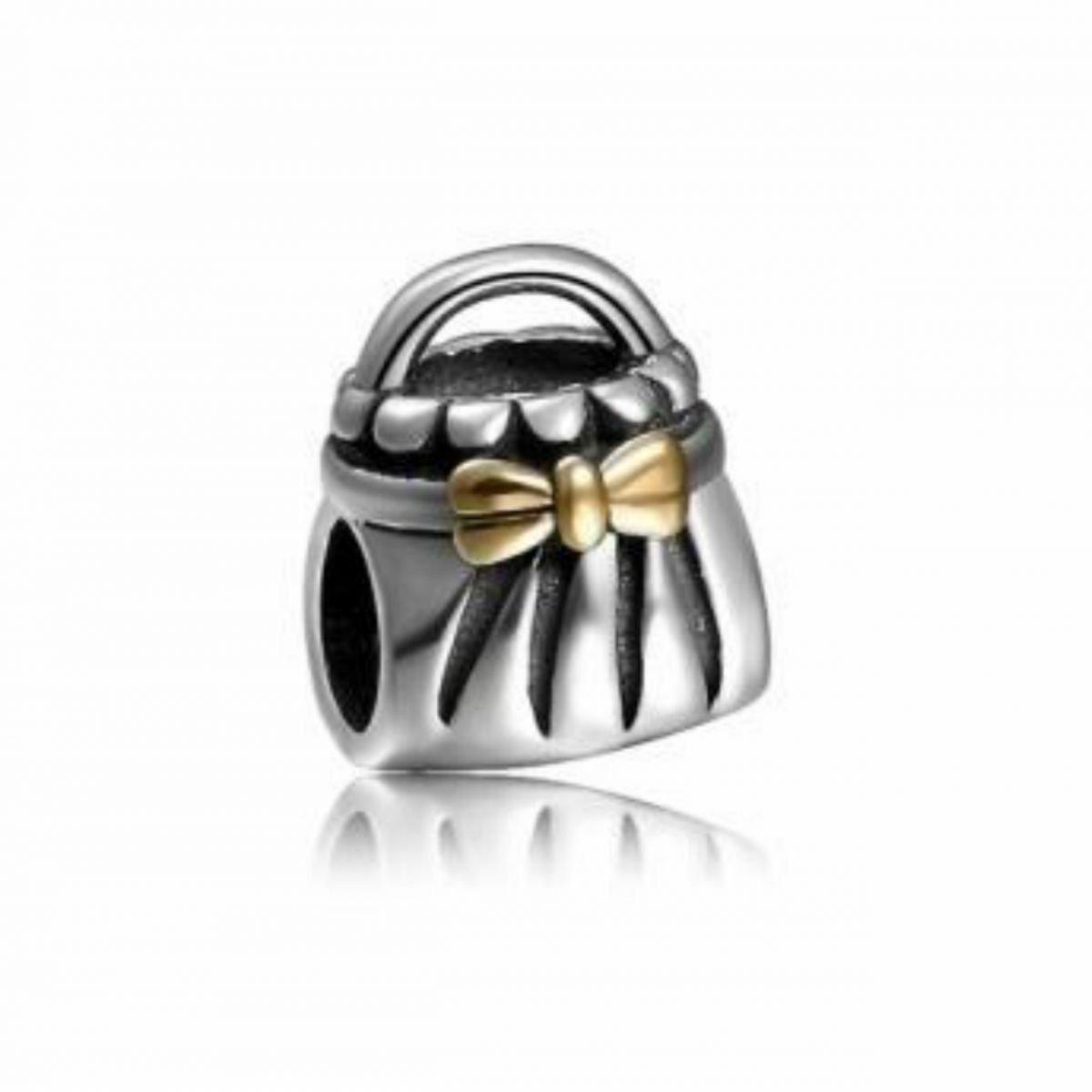 Berloque Bolsa com Laço Dourado II
