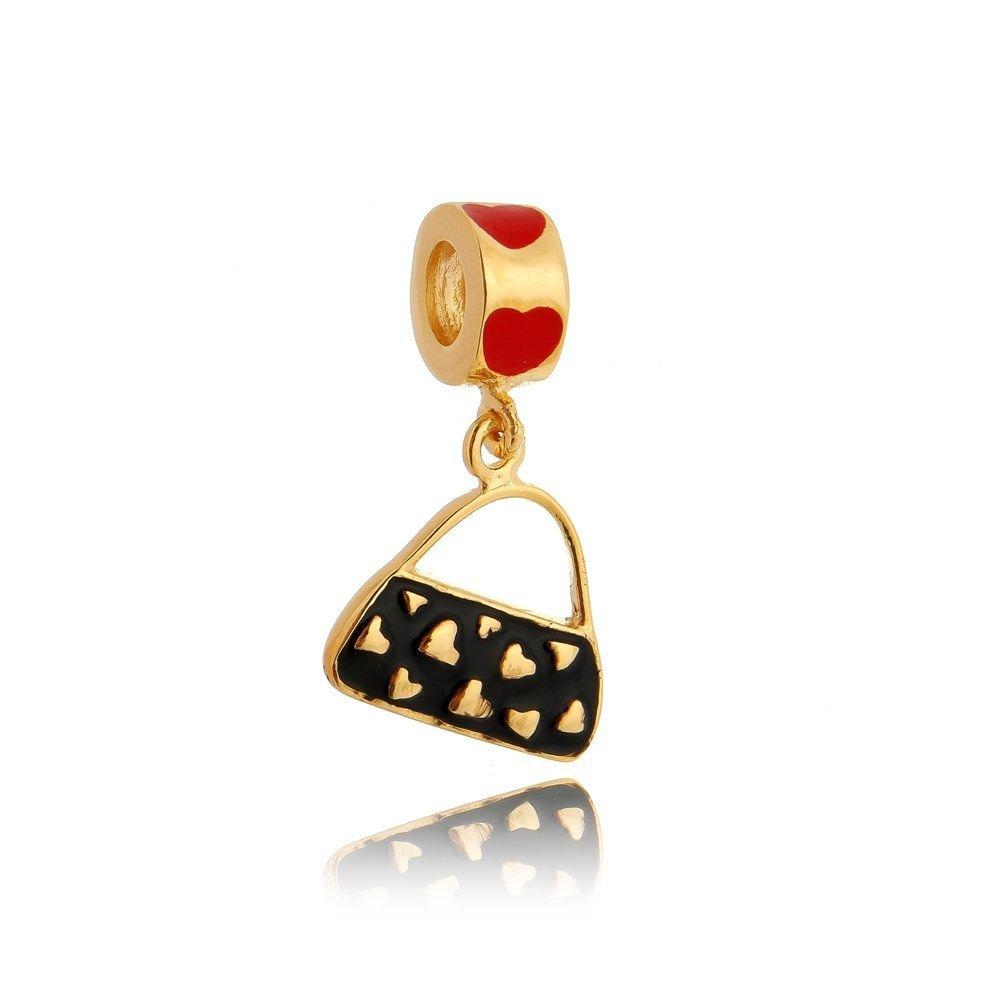 Berloque Bolsa Corações Dourada