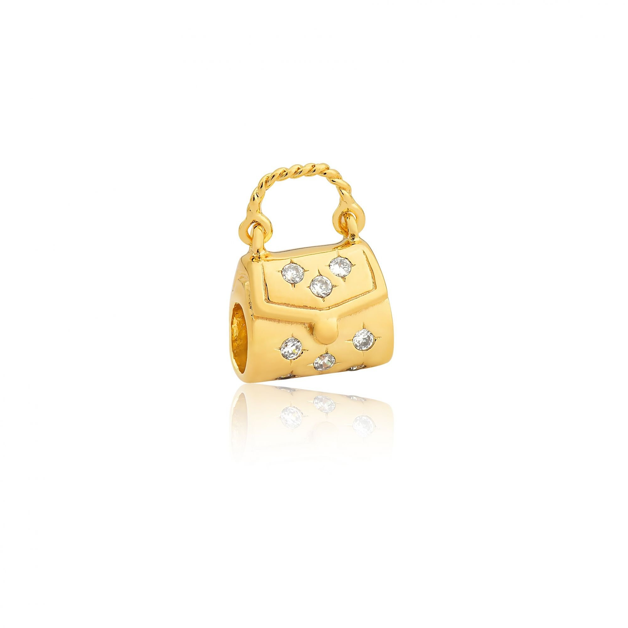 Berloque Bolsinha Dourada Zircônia