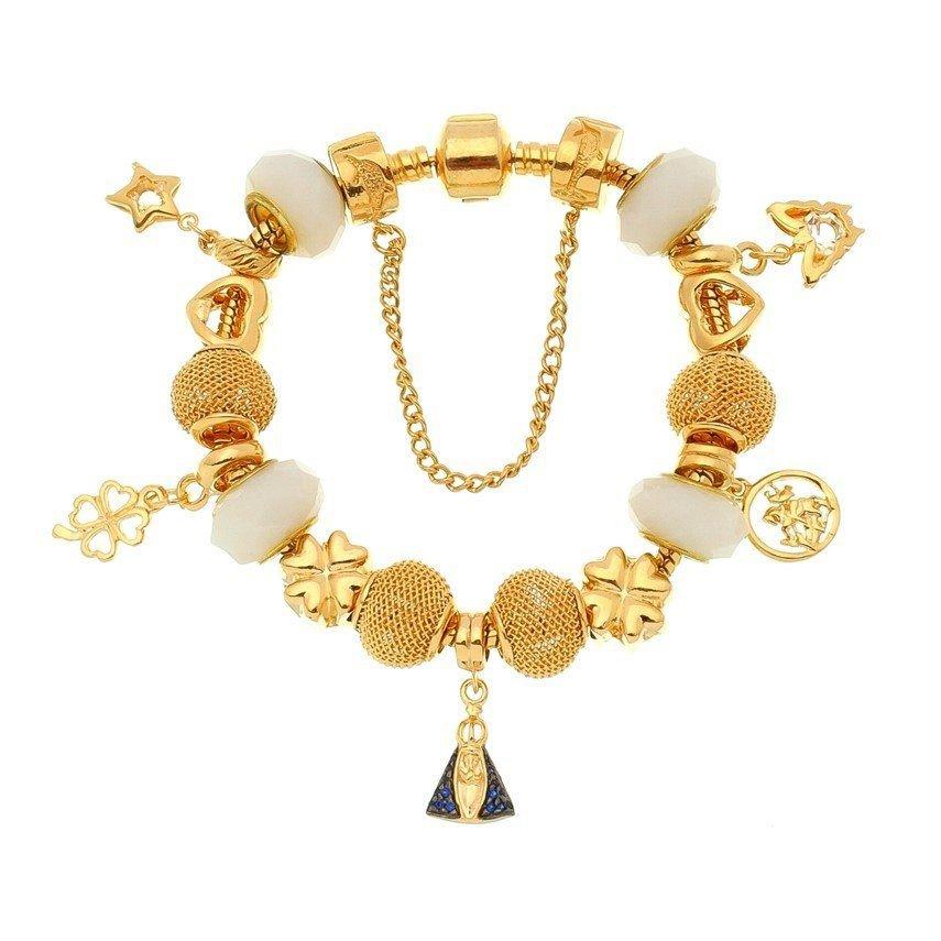 Berloque Borboleta Dourada Zircônia