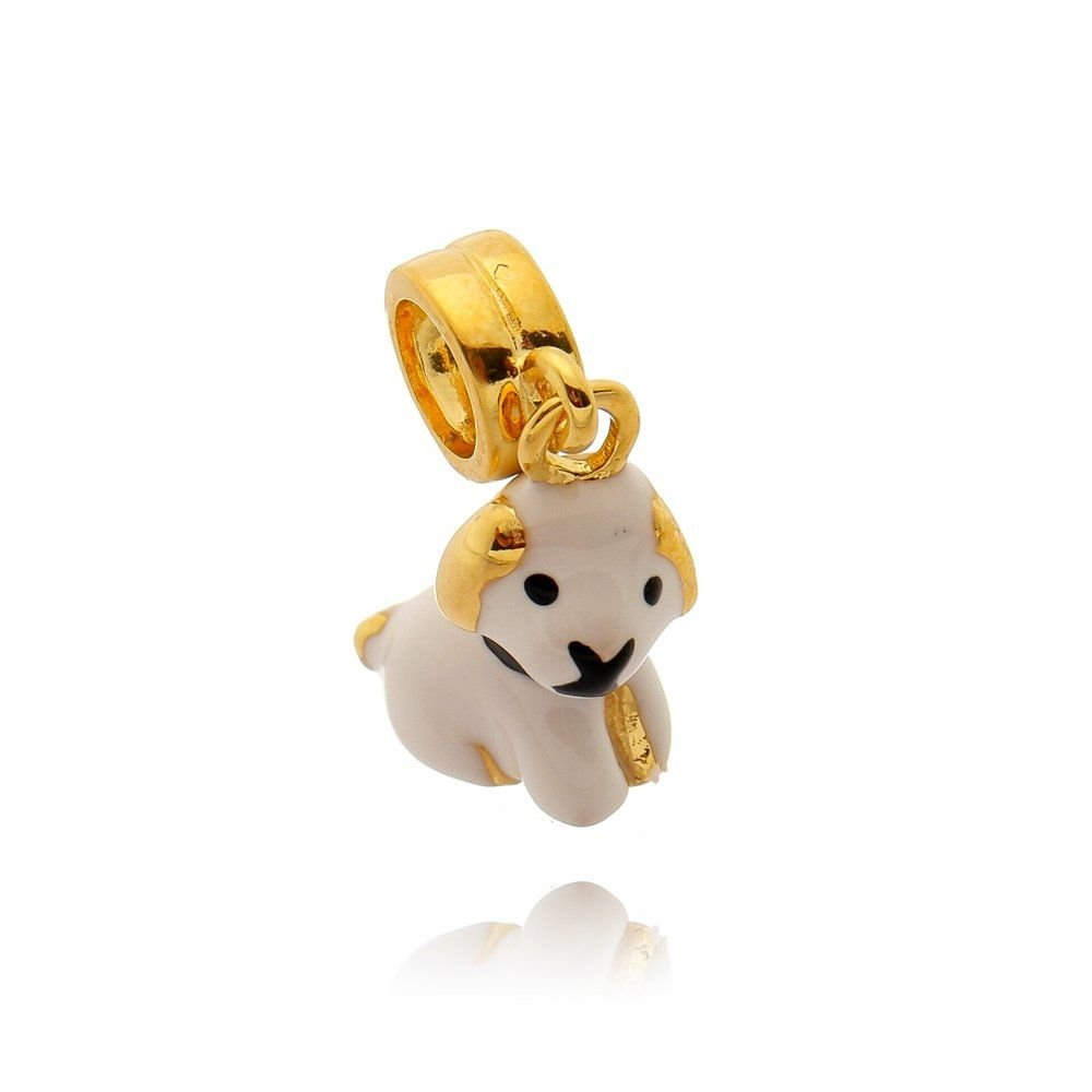 Berloque Cachorro Branquinho Dourado