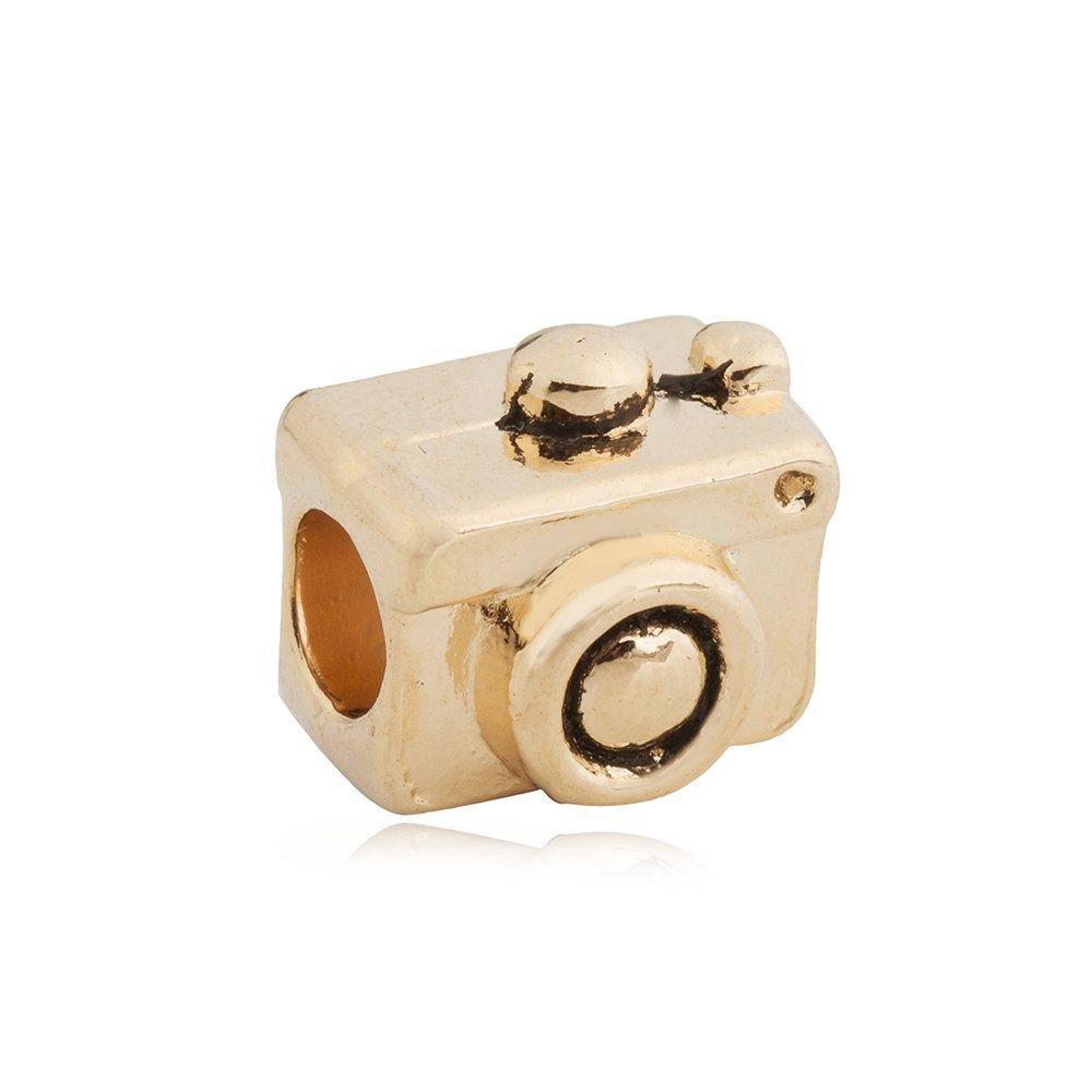 Berloque Câmera Fotográfica Dourada