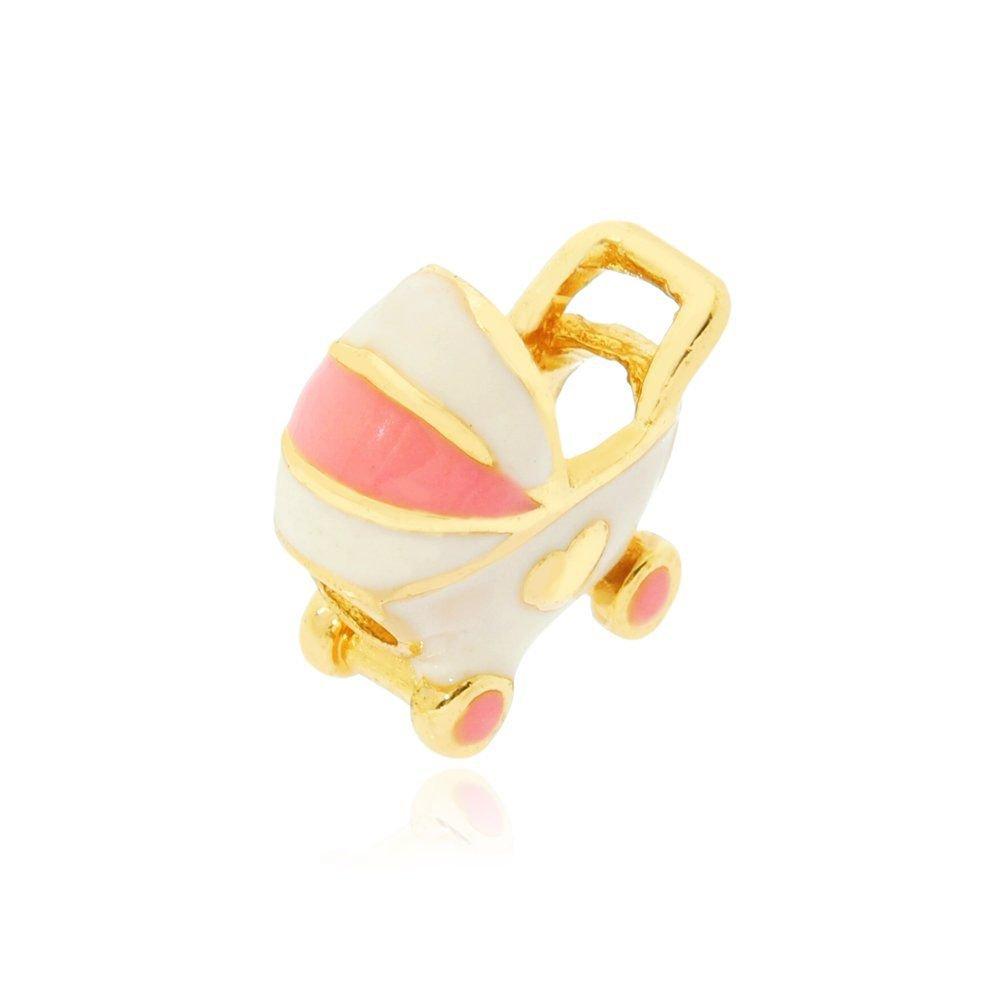 Berloque Carrinho de Bebê Dourado