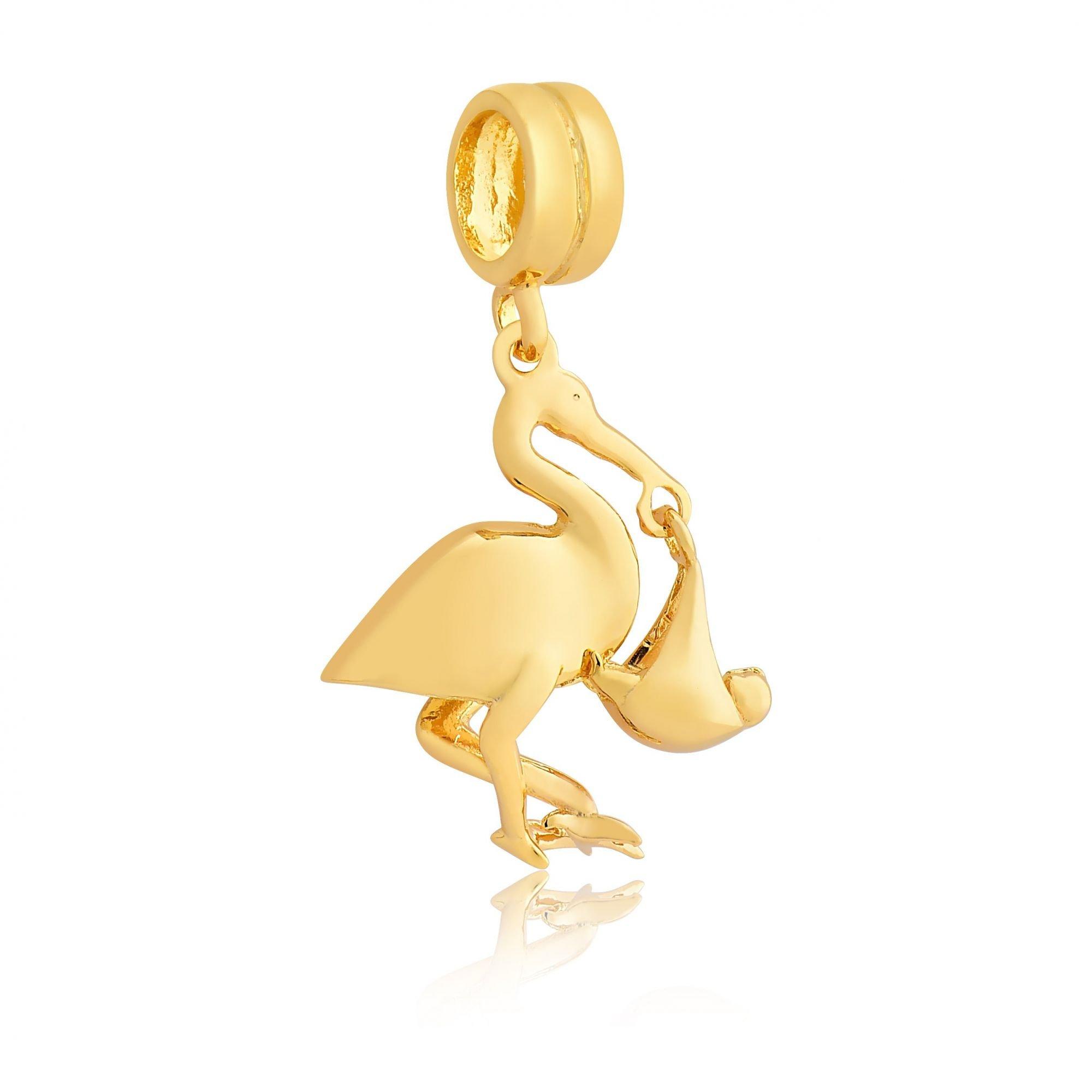 Berloque Cegonha com Bebê Dourada