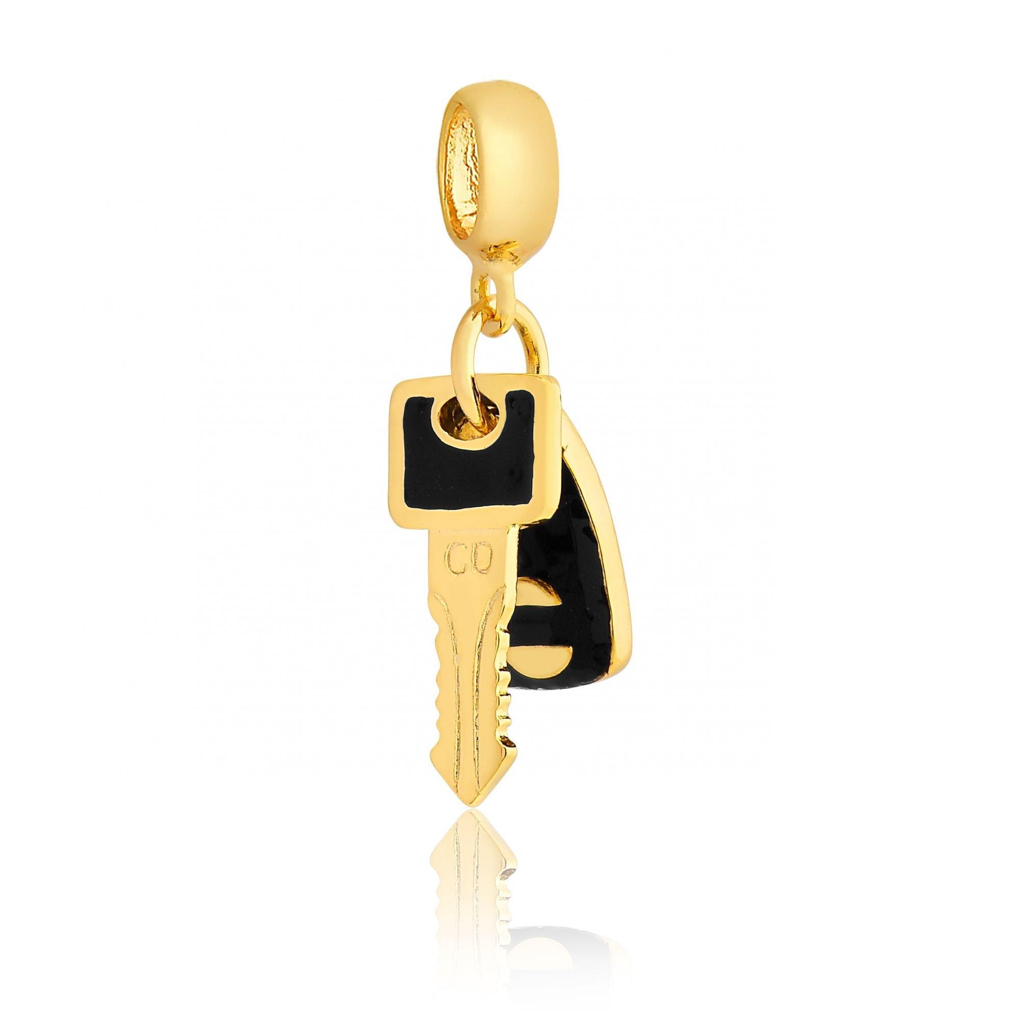 Berloque Chave Do Carro Dourada