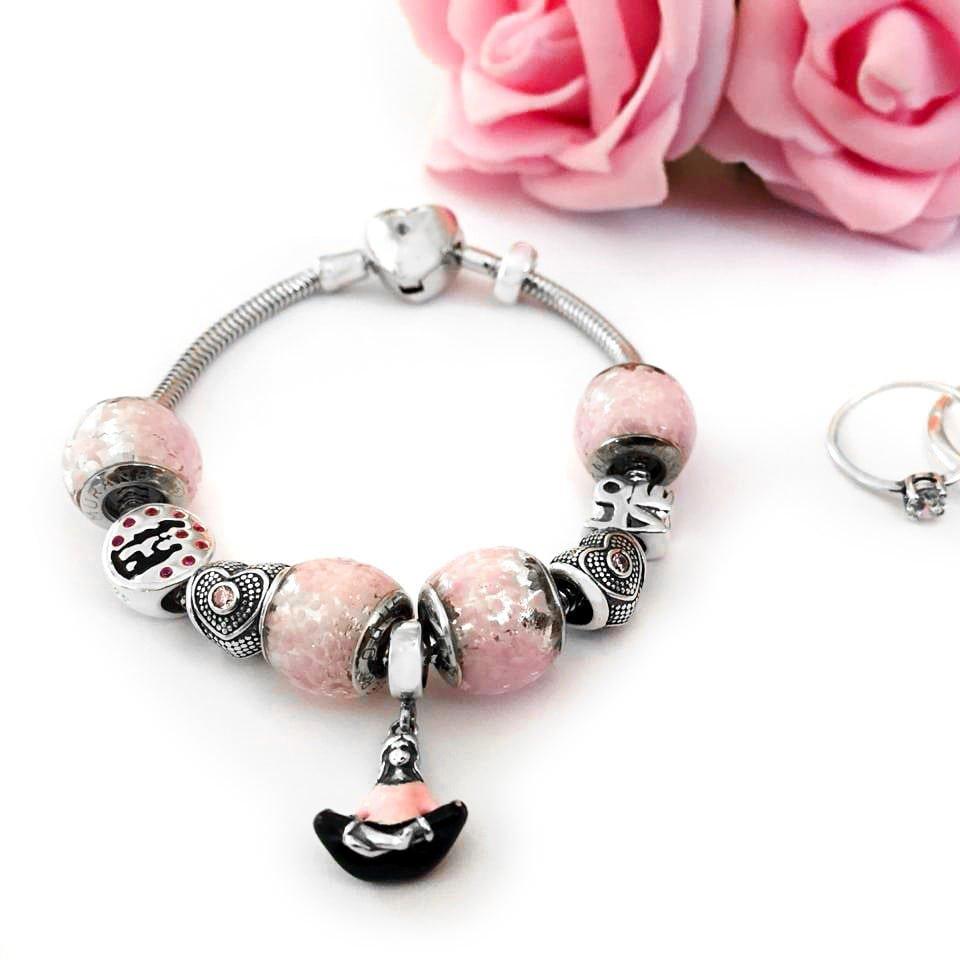 Berloque Coração Amor Rosa