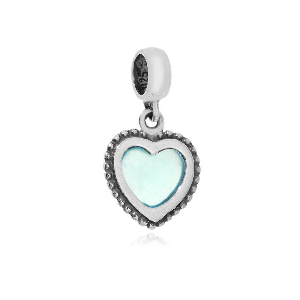 Berloque Coração Céu Azul