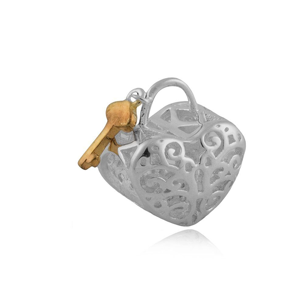 Berloque Coração com Chave Dourada