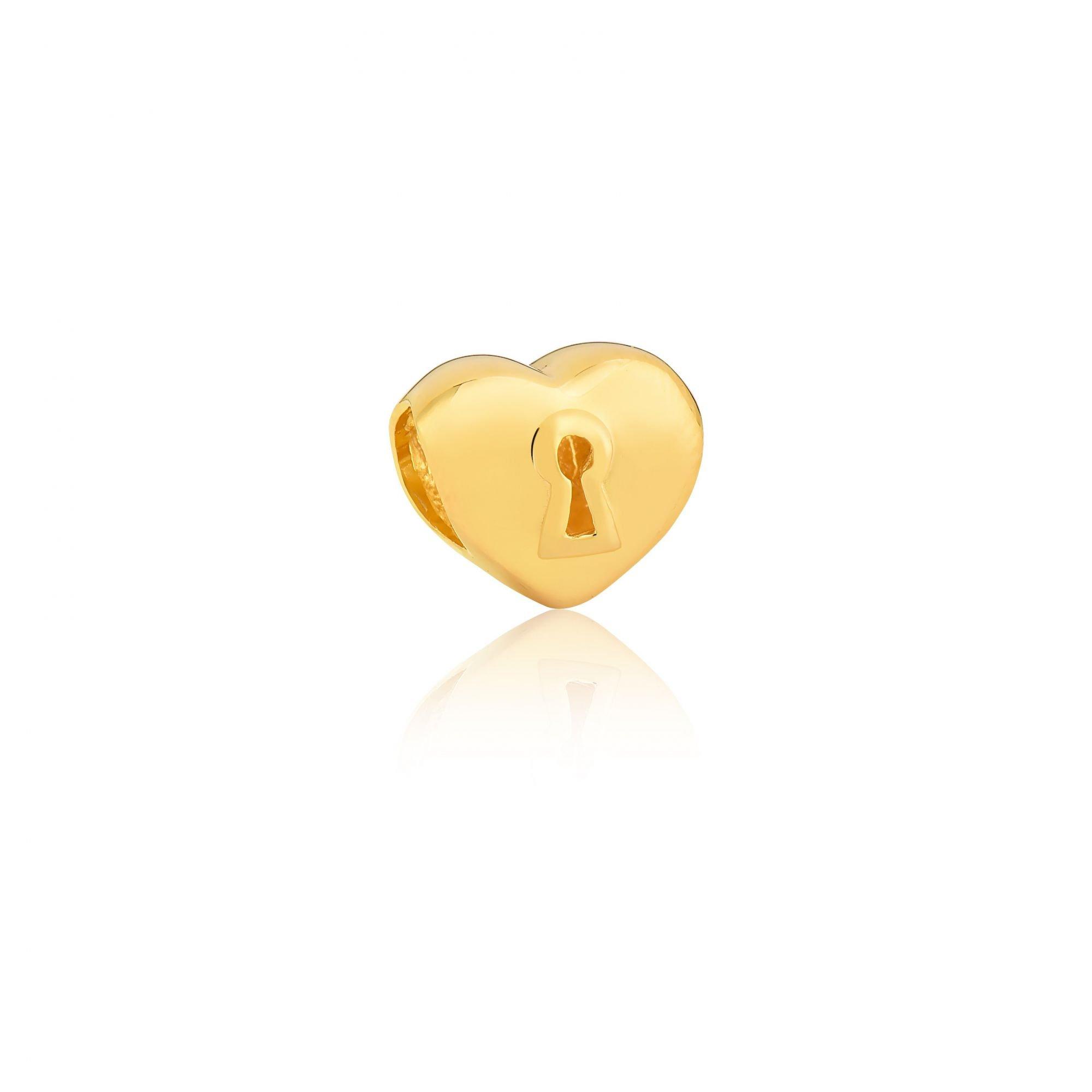 Berloque Coração com Fechadura Dourado