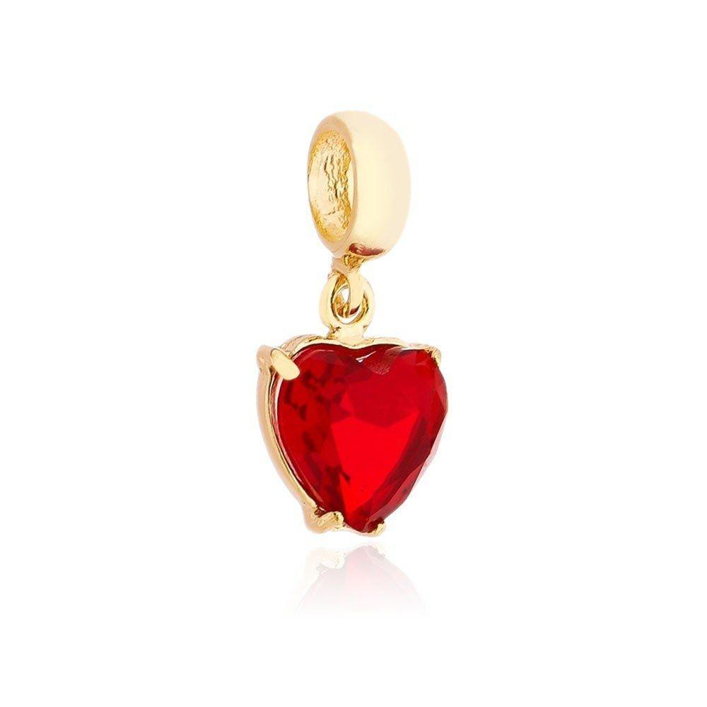 Berloque Coração de Zircônia Vermelho