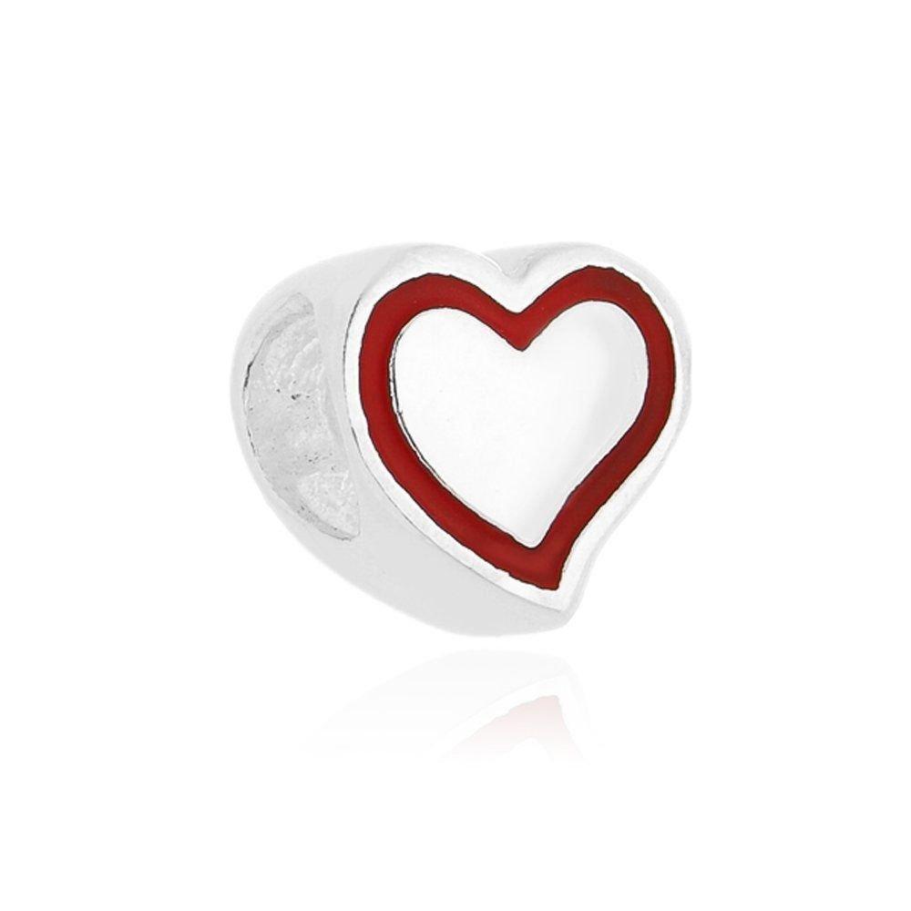 Berloque Coração detalhe Vermelho