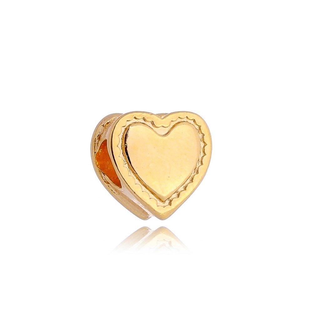 Berloque Coração detalhes Dourado