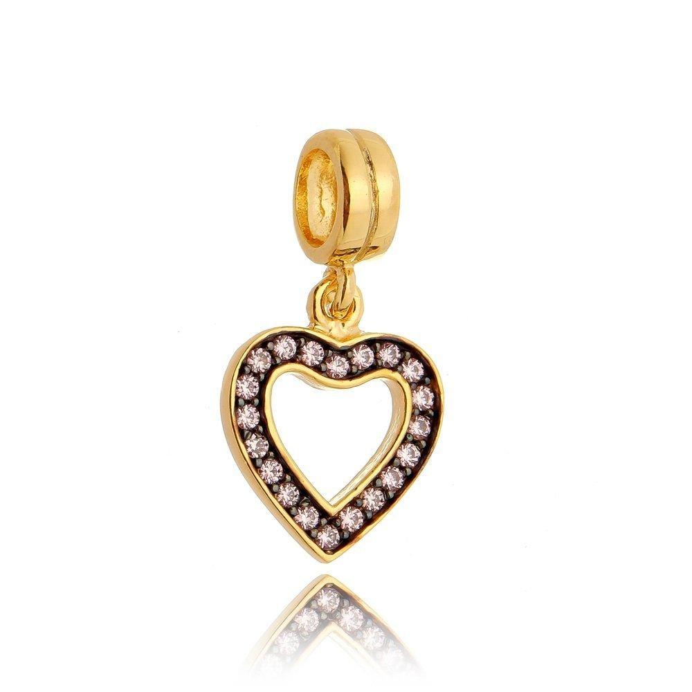 Berloque Coração Dourado Com Pedras