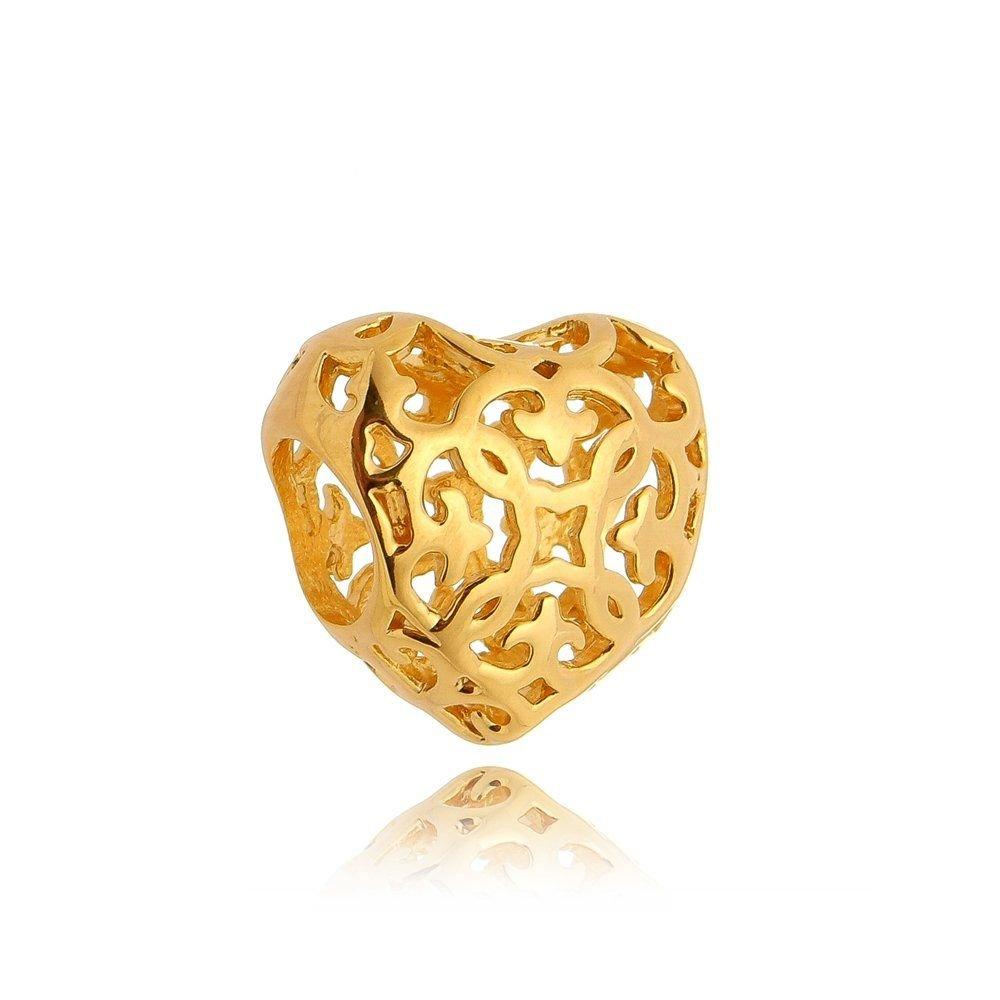 Berloque Coração  Dourado Vazado