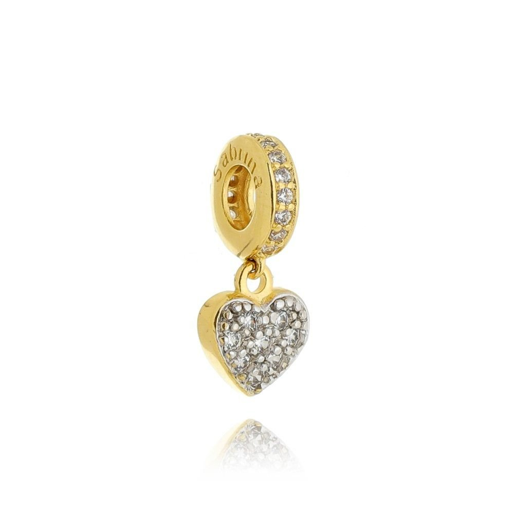 Berloque Coração Dourado Zircônias