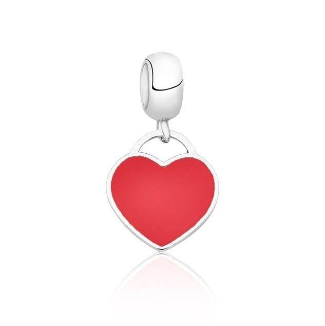 Berloque Coração Esmaltado Vermelho